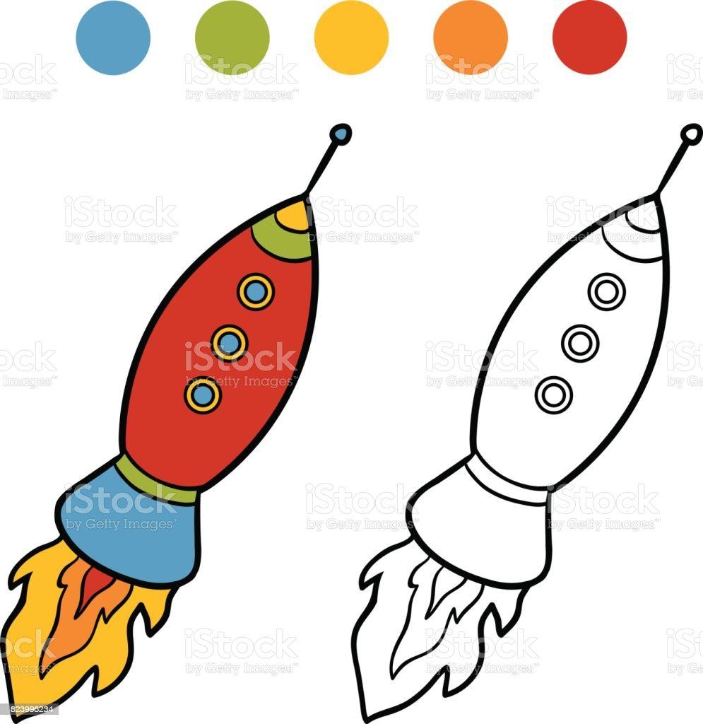 Boyama Kitabi Uzay Gemisi Stok Vektor Sanati Anaokulu Nin Daha