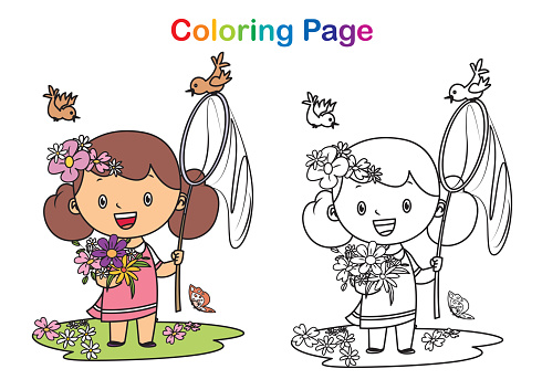 Coloring book, spring and little girl