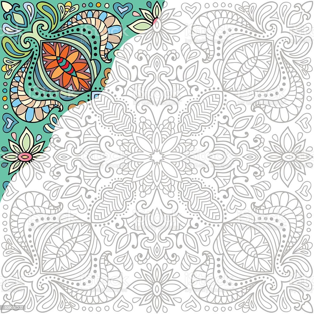 Coloring book square page. Decorative floral ornament for painting vector art illustration