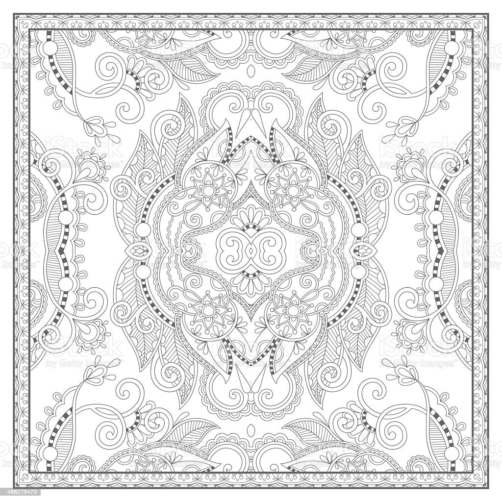 Coloring Book Square Page For Adults Ethnic Floral Carpet Stock ...