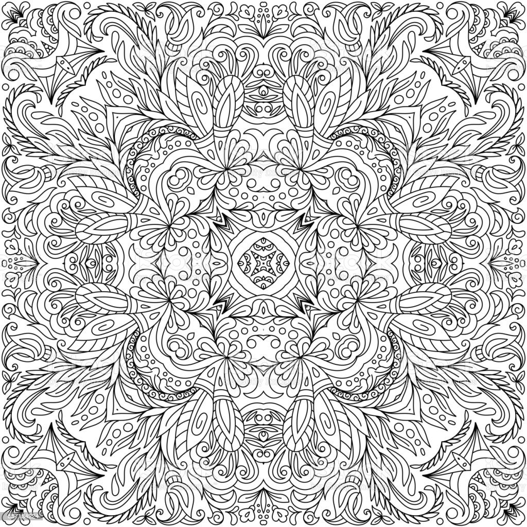 Coloring Book Square Page For Adults Floral Authentic Carpet Stock ...