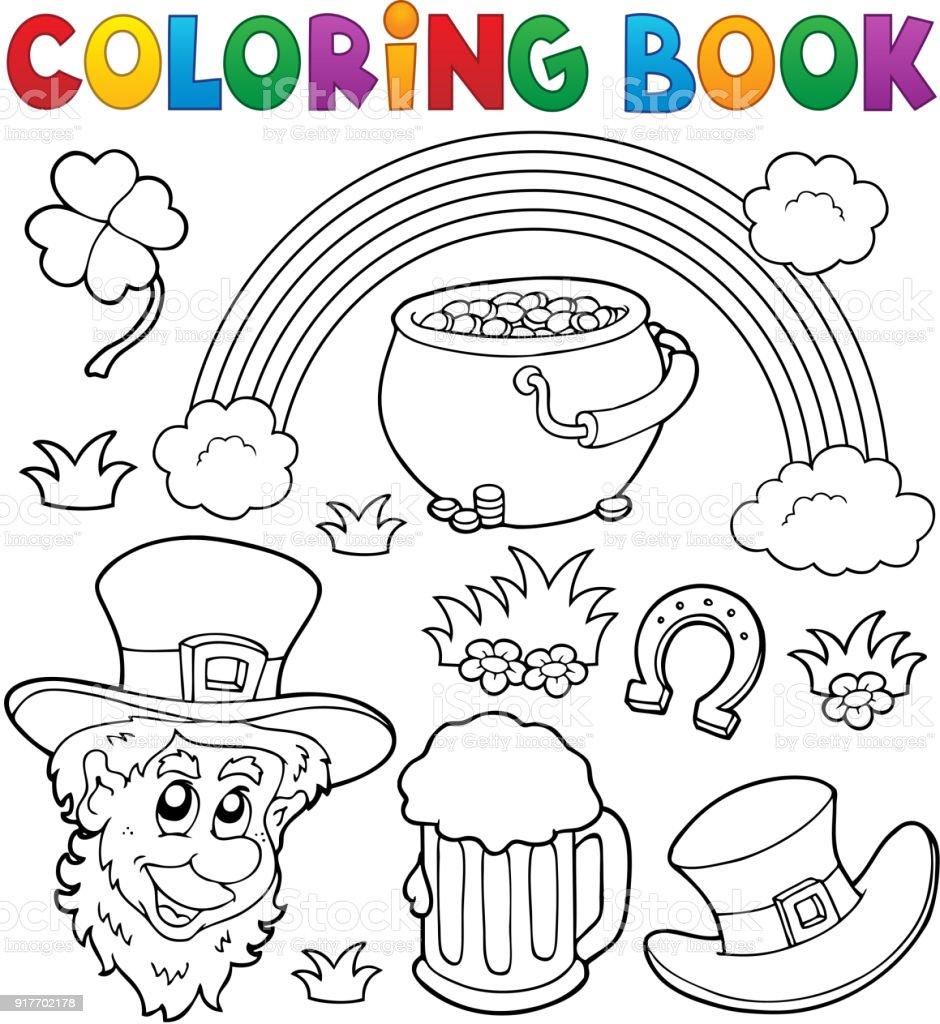 Boyama Kitabı St Patricks Günü Teması 1 Stok Vektör Sanatı Altın