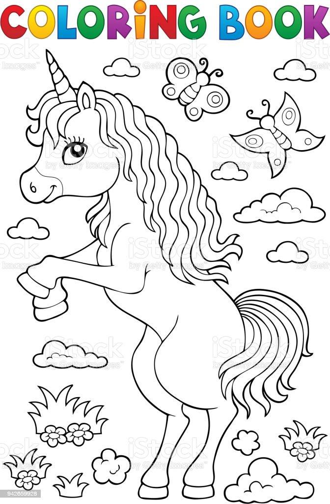 Boyama Kitabi Ayakta Unicorn Tema 1 Stok Vektor Sanati At