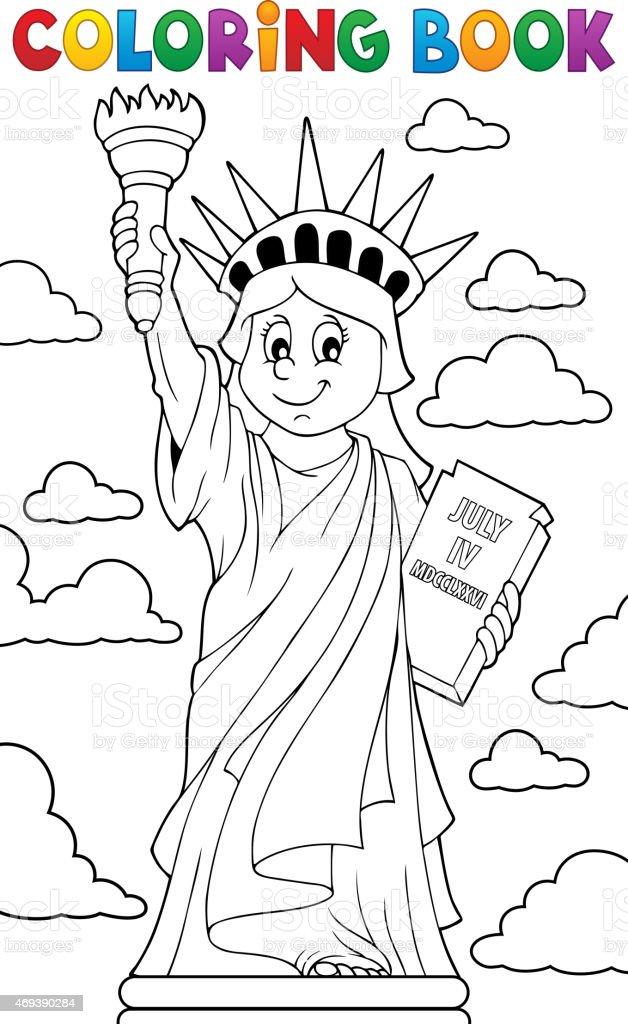 Ilustración De Libro Para Colorear Estatua De La Libertad
