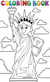 Coloring book Statue of Liberty theme 1 - eps10 vector illustration.