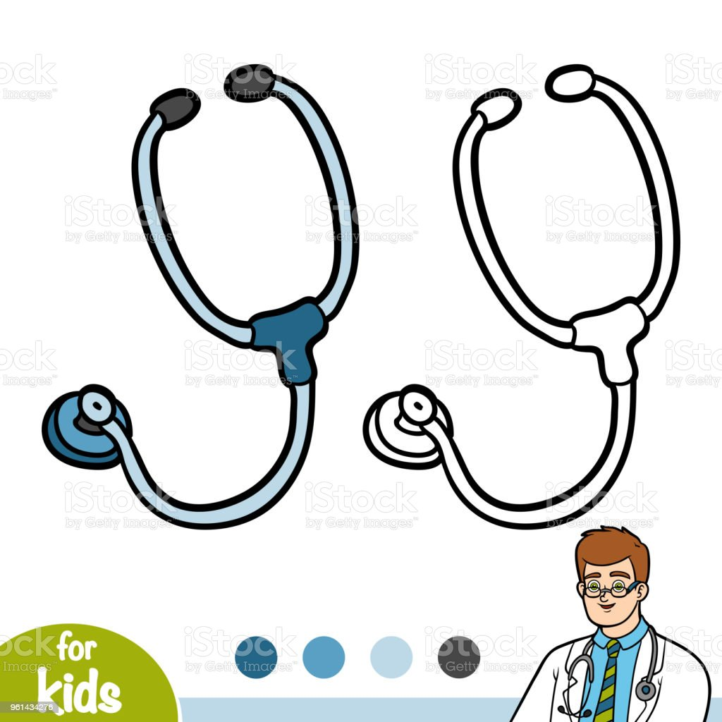 Boyama Kitabı Stetoskop Stok Vektör Sanatı Anaokulunin Daha Fazla