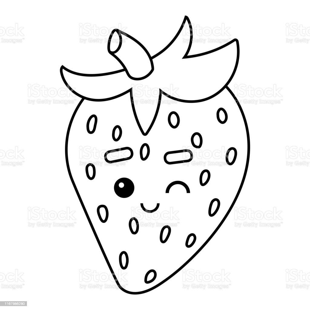 - Coloring Book Strawberry With A Cute Face Stock Illustration - Download  Image Now - IStock