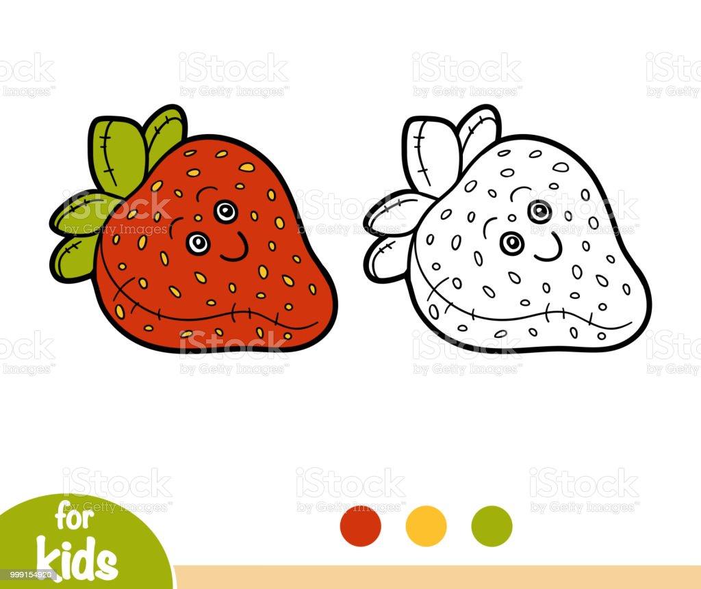 塗り絵ぬいぐるみグッズ イチゴ おもちゃのベクターアート素材や画像を