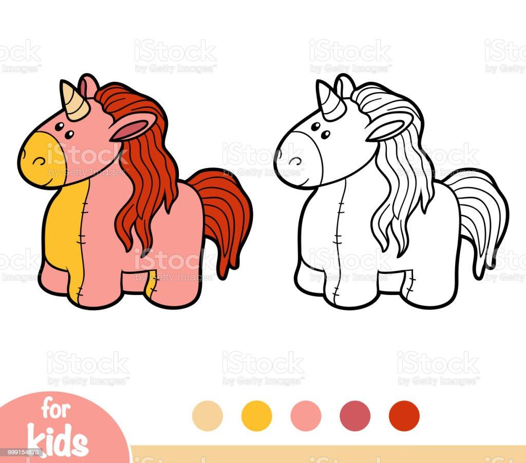 Ilustración De Libro Para Colorear Juguetes De Peluche Unicornio Y