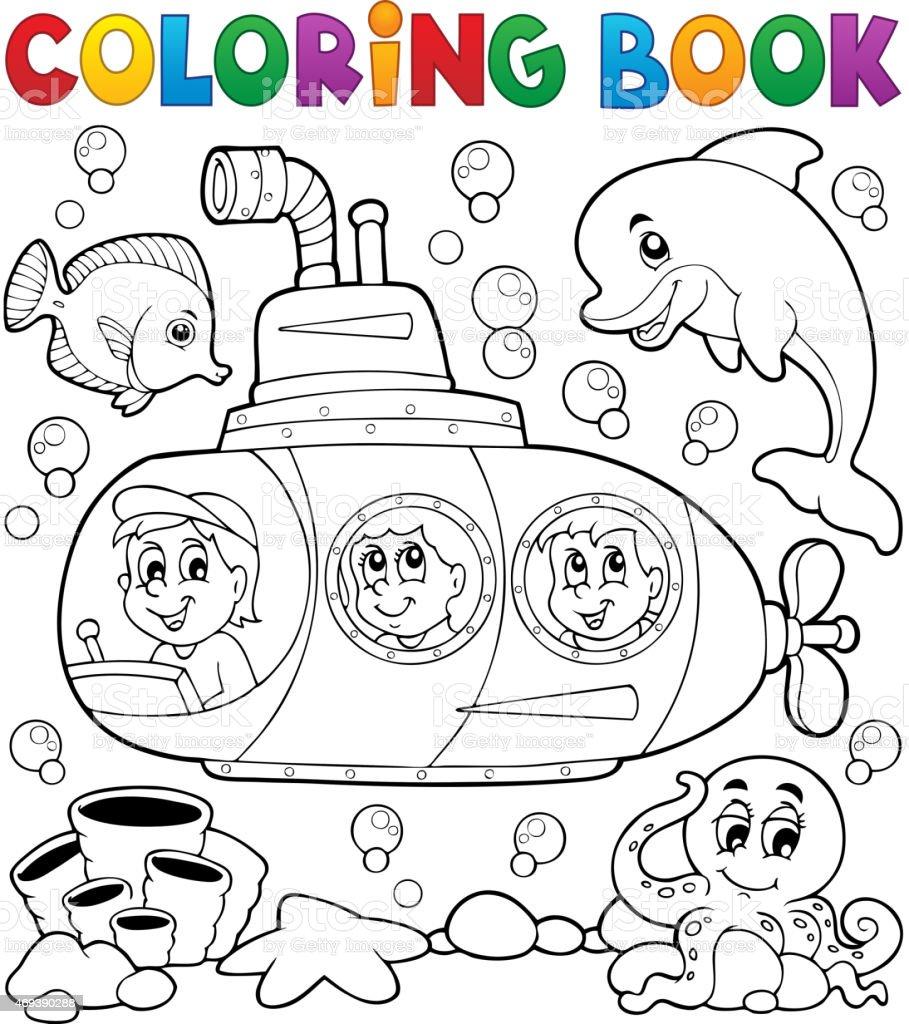 Ilustración de Libro Para Colorear Submarino Tema 1 y más banco de ...