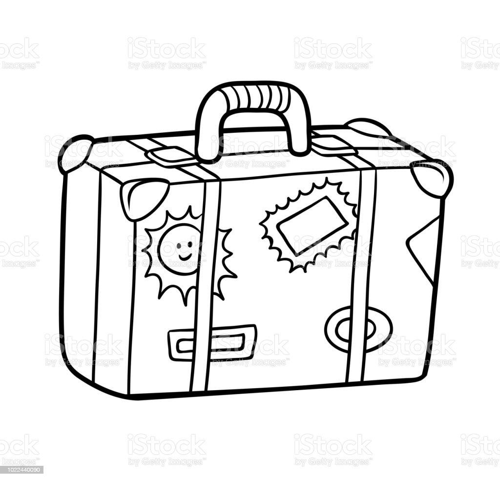 livre de coloriage valise avec des autocollants vecteurs
