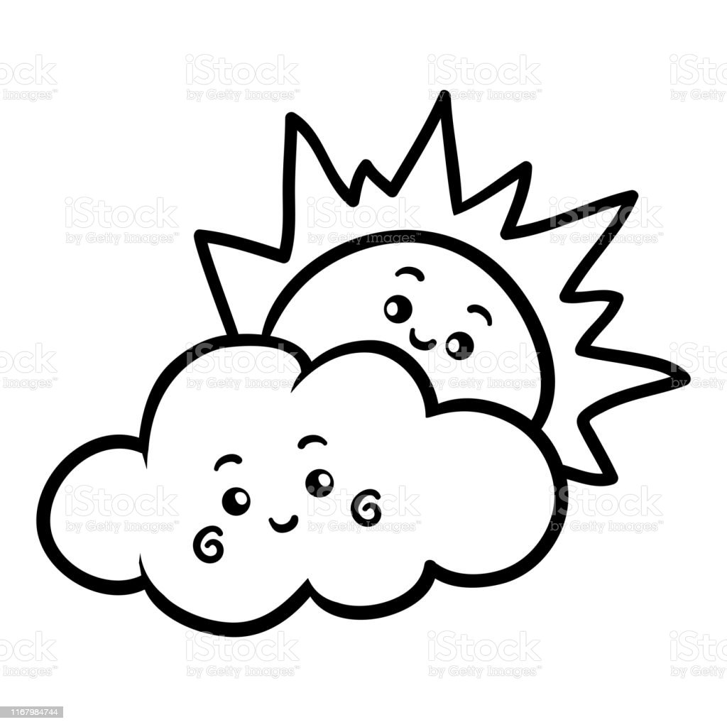Ilustracion De Libro Para Colorear Sol Y Nube Con Una Cara Linda Y