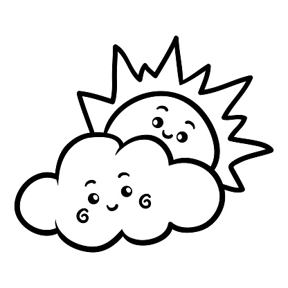 귀여운 얼굴로 색칠 공부 태양과 구름 검정에 대한 스톡 벡터 아트 및 기타 이미지 istock
