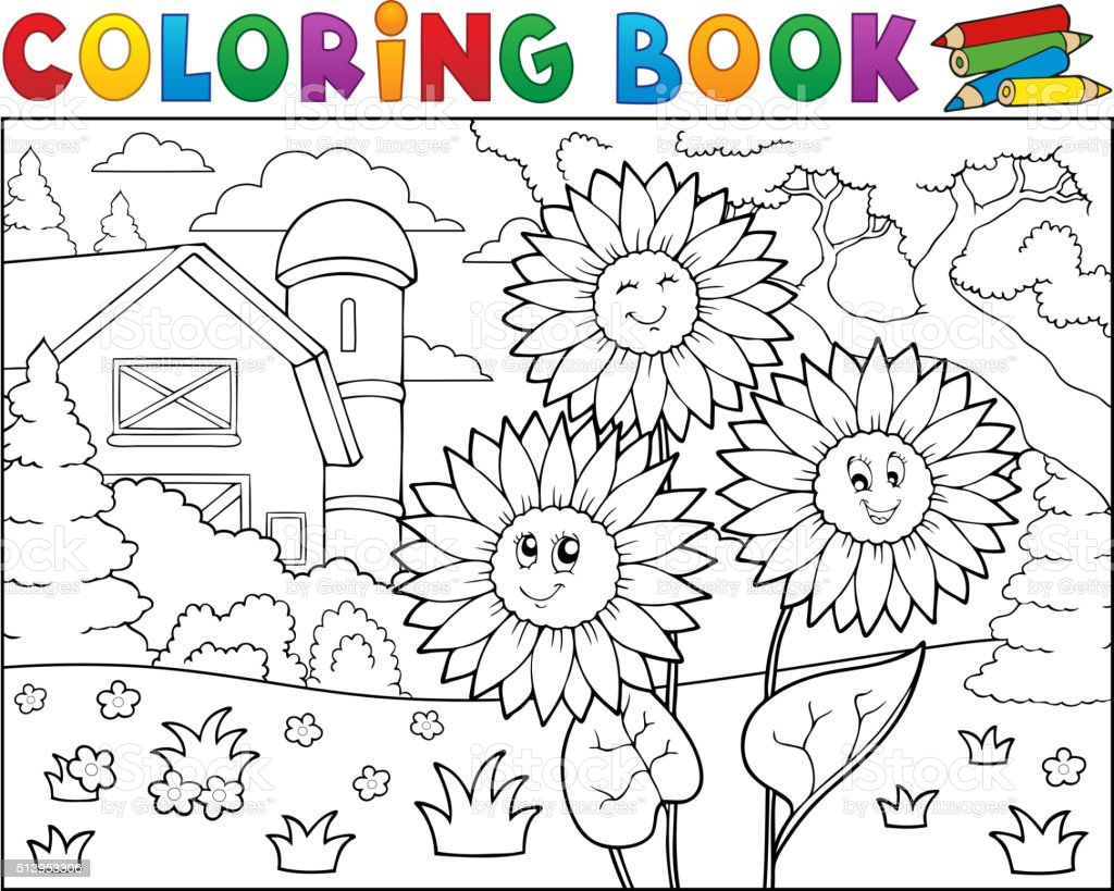 Coloring Pictures Of Sunflowers. Coloring book sunflowers near farm royalty free coloring  stock vector art Book Sunflowers Near Farm Stock Vector Art More Images