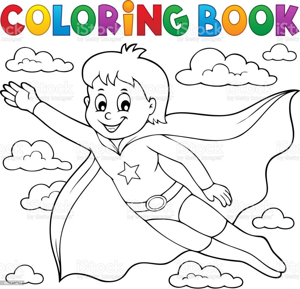 Malvorlagen Superhelden Junge Buchthema 1 Stock Vektor Art