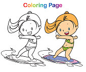 Vector coloring book surfer girl