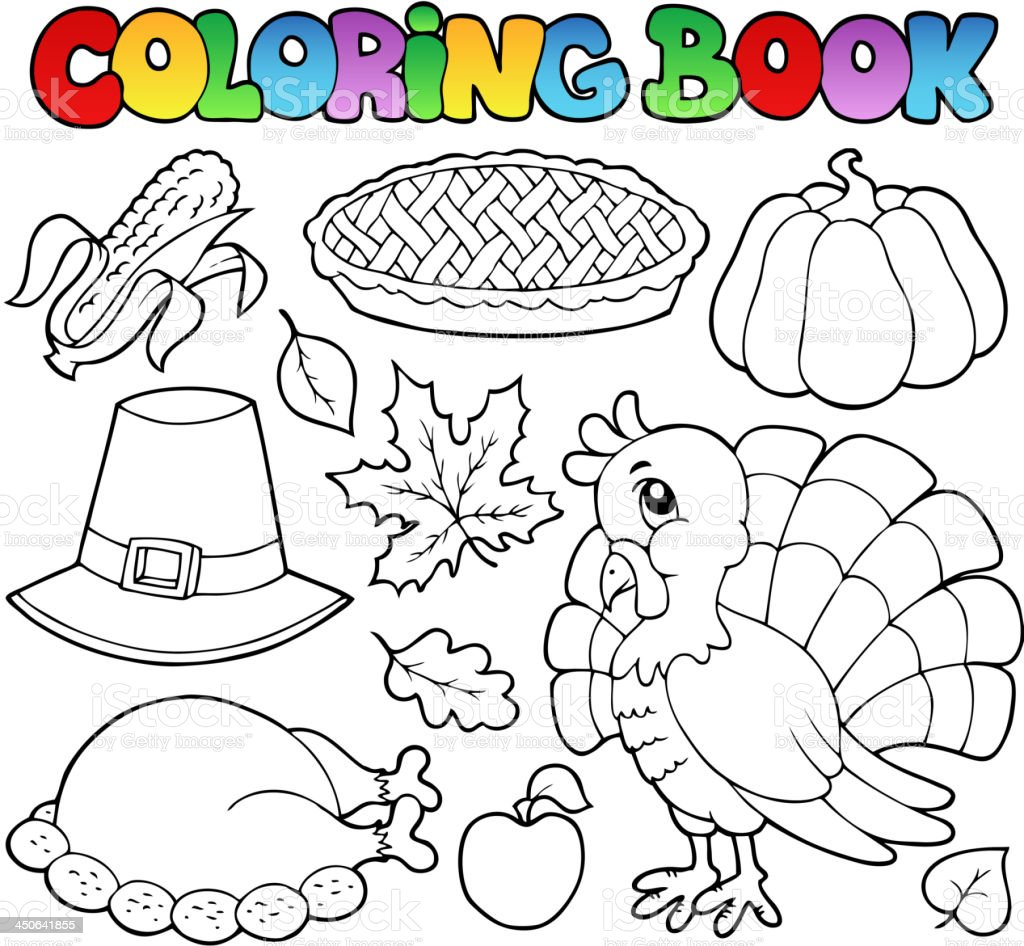 Malbuch Thanksgivingbild 1 Stock Vektor Art und mehr Bilder von ...