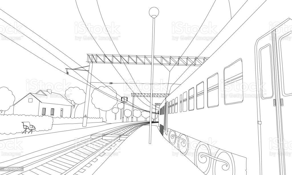 Boyama Kitabi Tren Platformu Vektor Cizim Stok Vektor Sanati