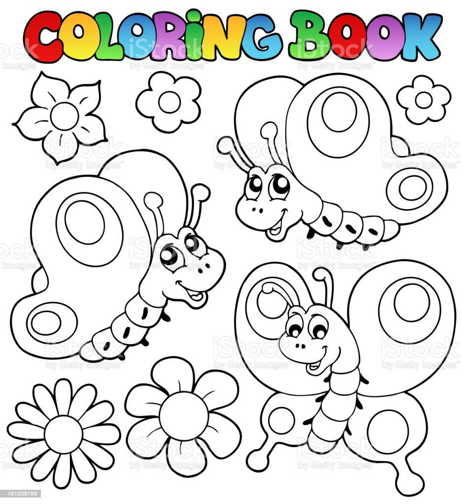 Ilustración De Libro Para Colorear Tres Mariposas Y Más