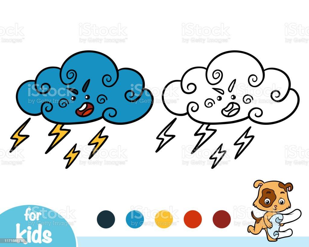 Ilustración De Libro Para Colorear Thundercloud Con