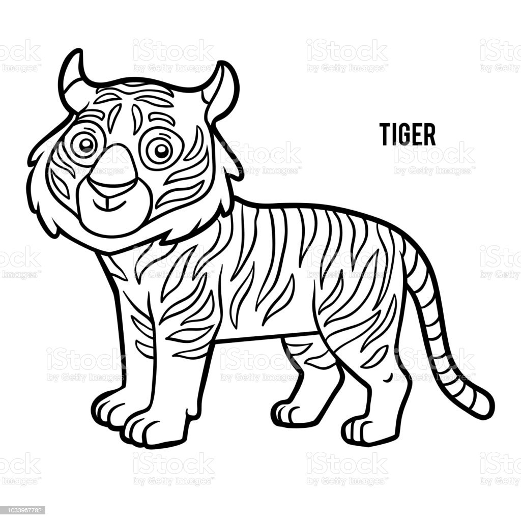 Coloring Book Tiger Stock Vector Art More Images Of Animal