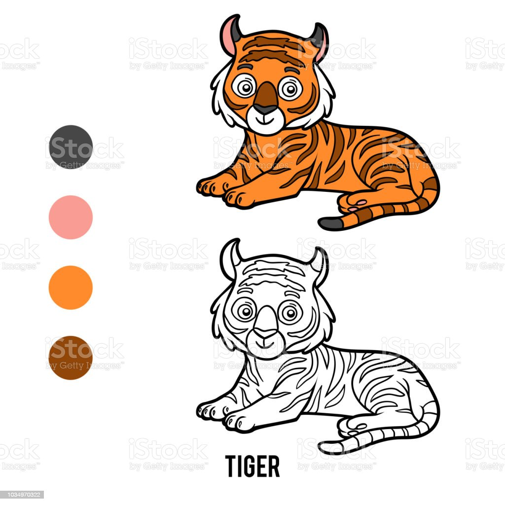 Coloring Book Tiger Stock Illustration Download Image Now