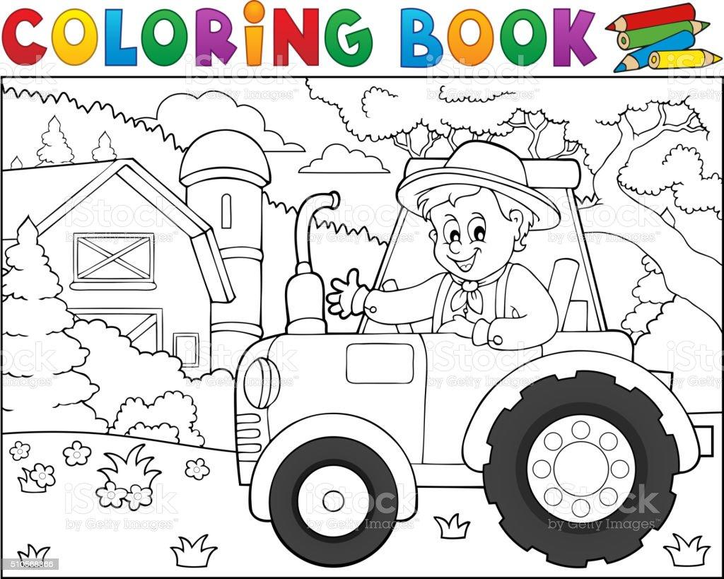 Ilustración de Libro Para Colorear Tractor Cerca De Granja Tema 1 y ...