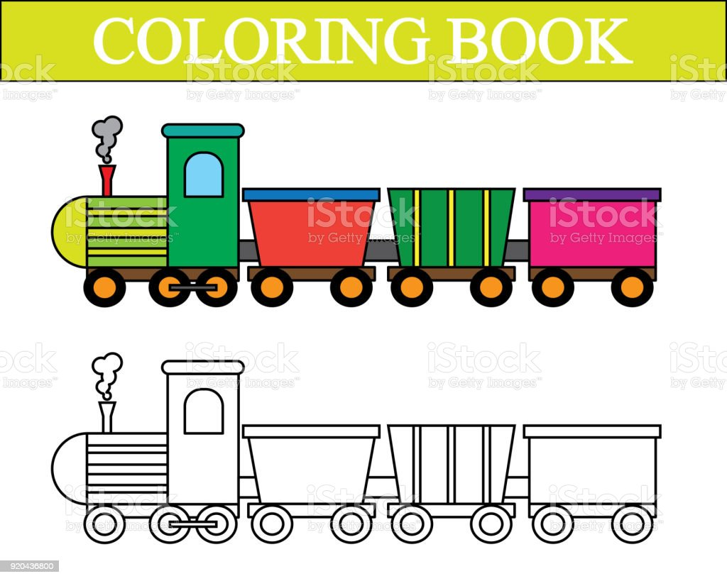 Coloring Book Train Cartoon Vector Illustration Royalty Free