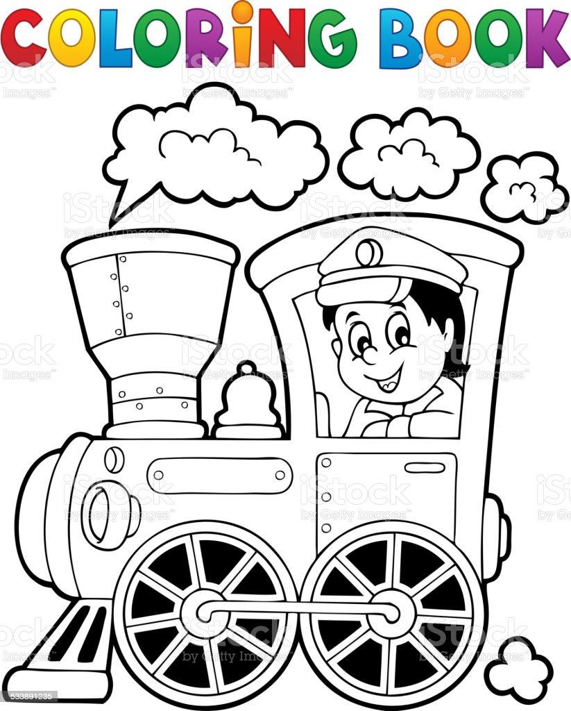 Ilustración de Libro Para Colorear Tren Tema 1 y más banco de ...