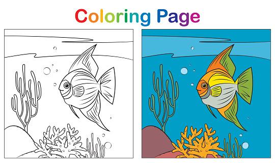Coloring book, tropical fish