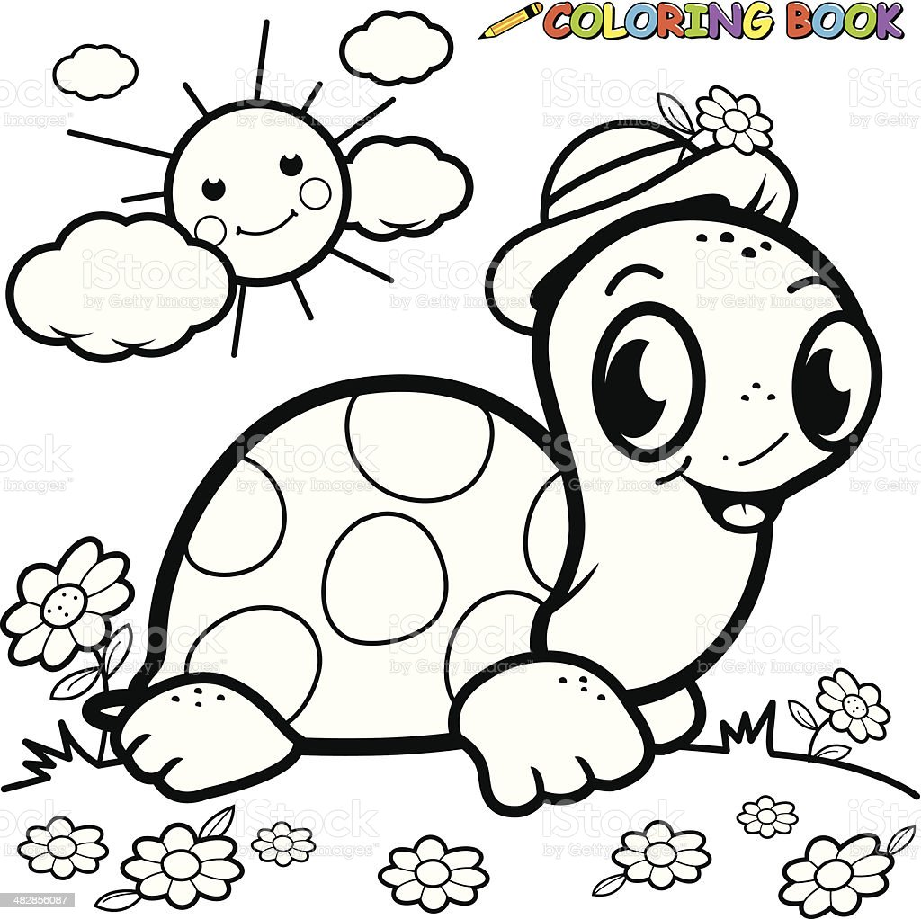 Coloring Book Turtle In Grass Royalty Free Stock Vector Art