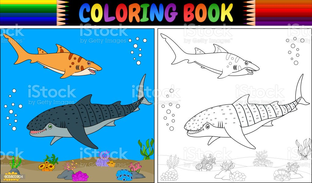 Boyama Kitabı Iki çizgi Film Köpekbalığı Stok Vektör Sanatı