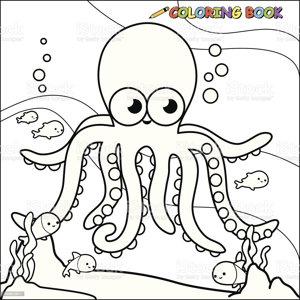 Coloring Book Underwater Octopus Stock Vector Art & More Images of ...