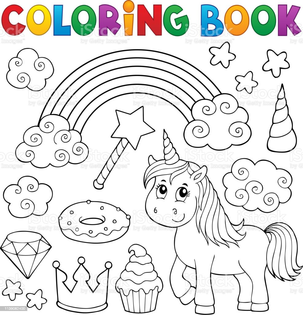 - Coloring Book Unicorn And Objects 1 Stock Illustration - Download
