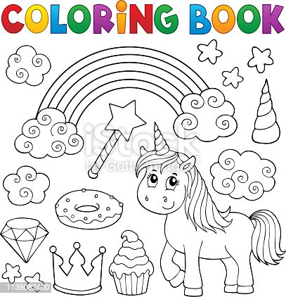 istock Coloring book unicorn and objects 1 1139082400