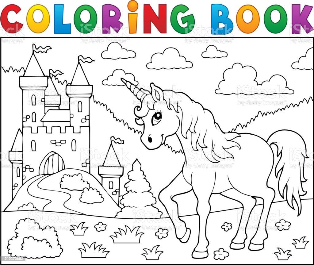 Ilustración de Libro Para Colorear Unicornio Cerca Del Castillo y ...