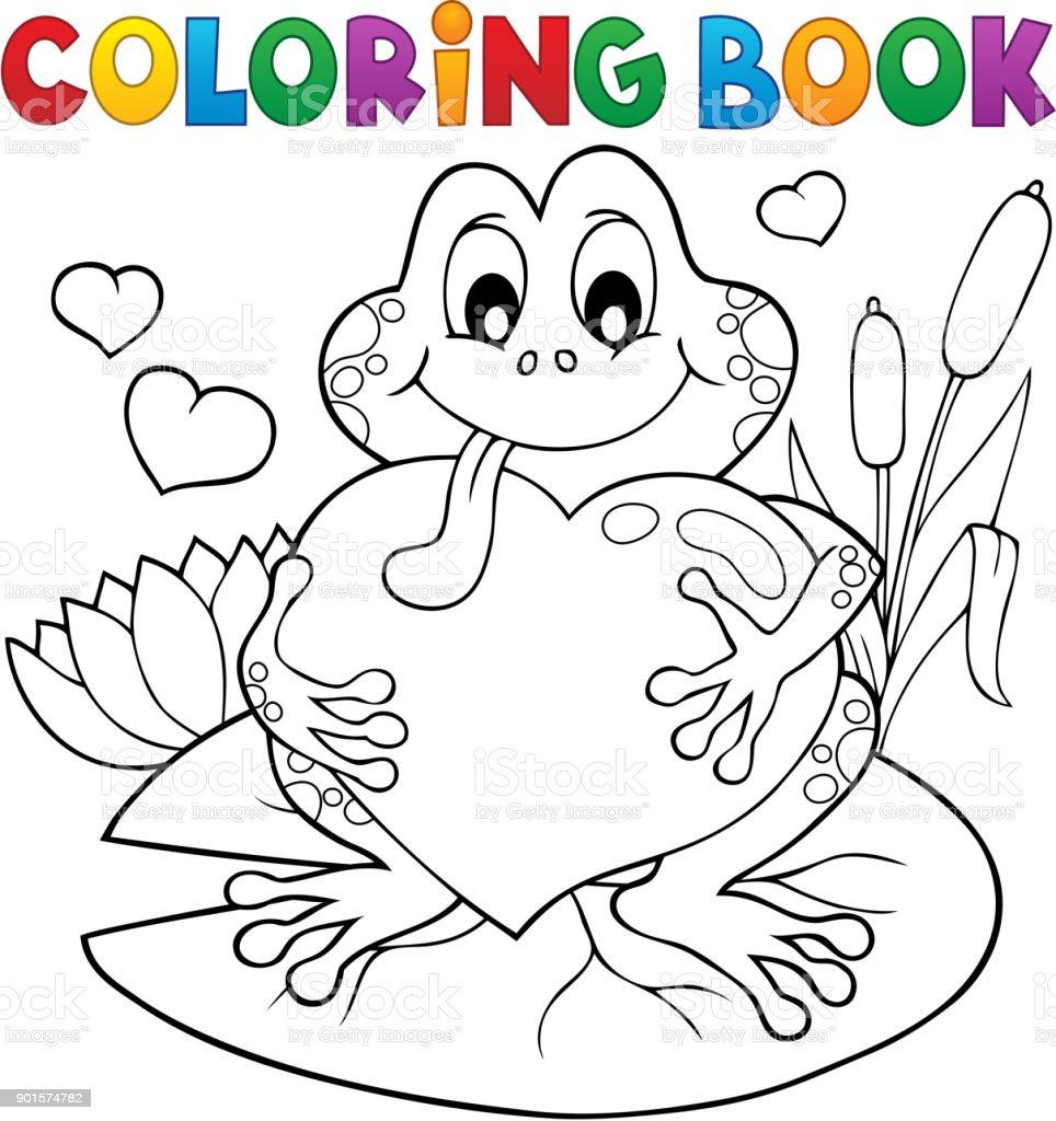 Ilustración de Rana De San Valentín Para Colorear Libro y más banco ...