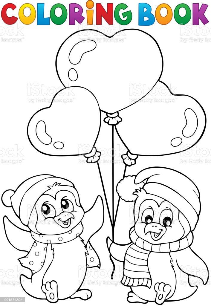 Ilustración de Pingüinos De San Valentín Para Colorear Libro 1 y más ...