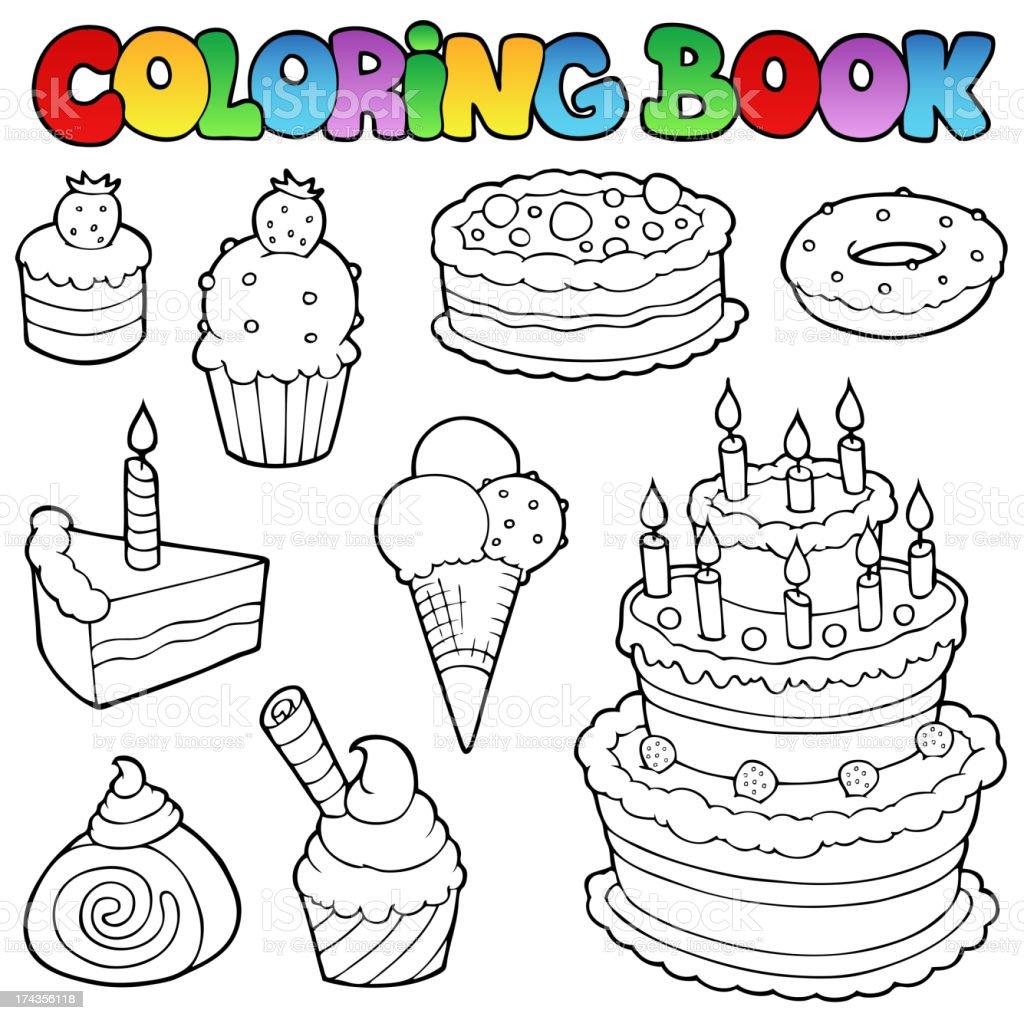 Libro Para Colorear Varios Tortas 1 - Arte vectorial de stock y más ...