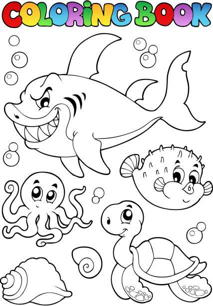 Vectores de Libro Para Colorear Tortugas De Mar Submarino y ...