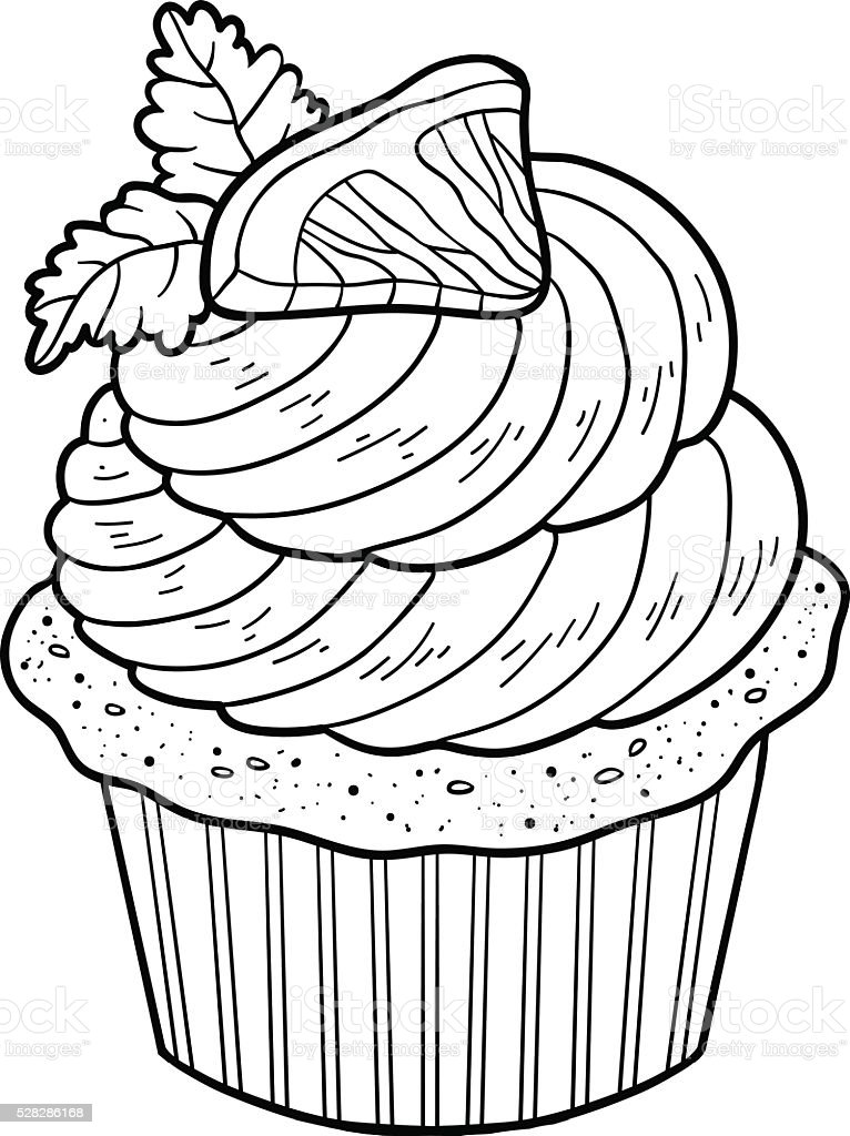 Coloring Book Vector Cupcake With Lemon Stock Vector Art
