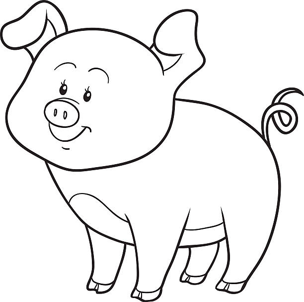 Cute Pig Coloring Pages Illustrations, Royalty-Free Vector ...