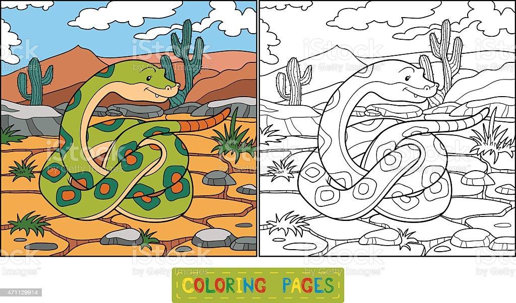 Coloring book (snake) vector art illustration