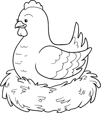 Coloring book (chicken and nest)