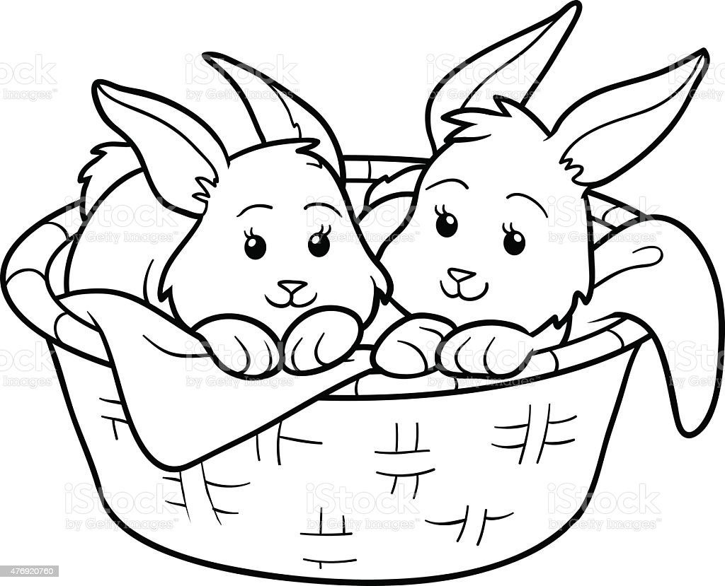 coloring book rabbits in basket royalty free stock vector art