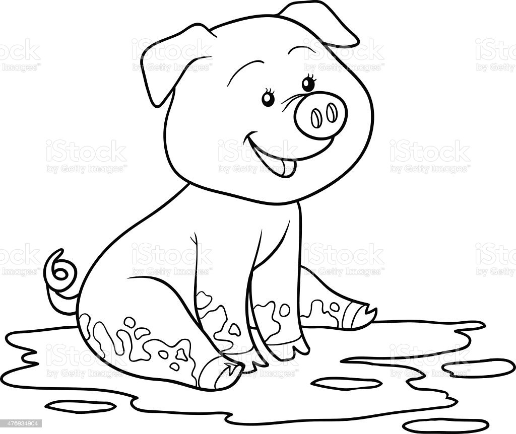 pig in mud coloring pages - photo#26