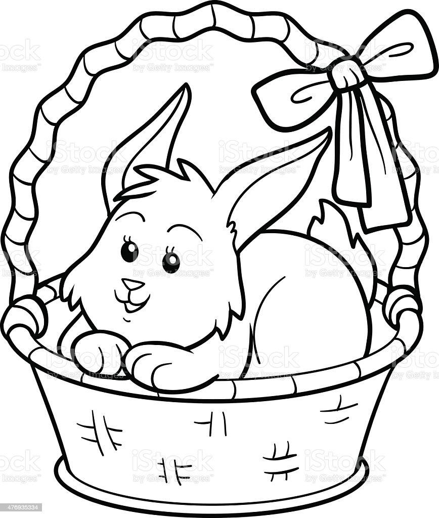 Libro Para Colorear Conejo En Canasta - Arte vectorial de stock y ...