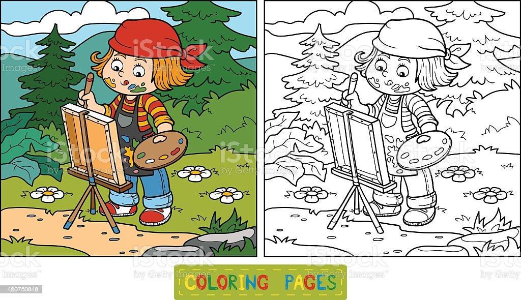 Ilustración de Libro Para Colorear Girl Artista Atrae En La ...