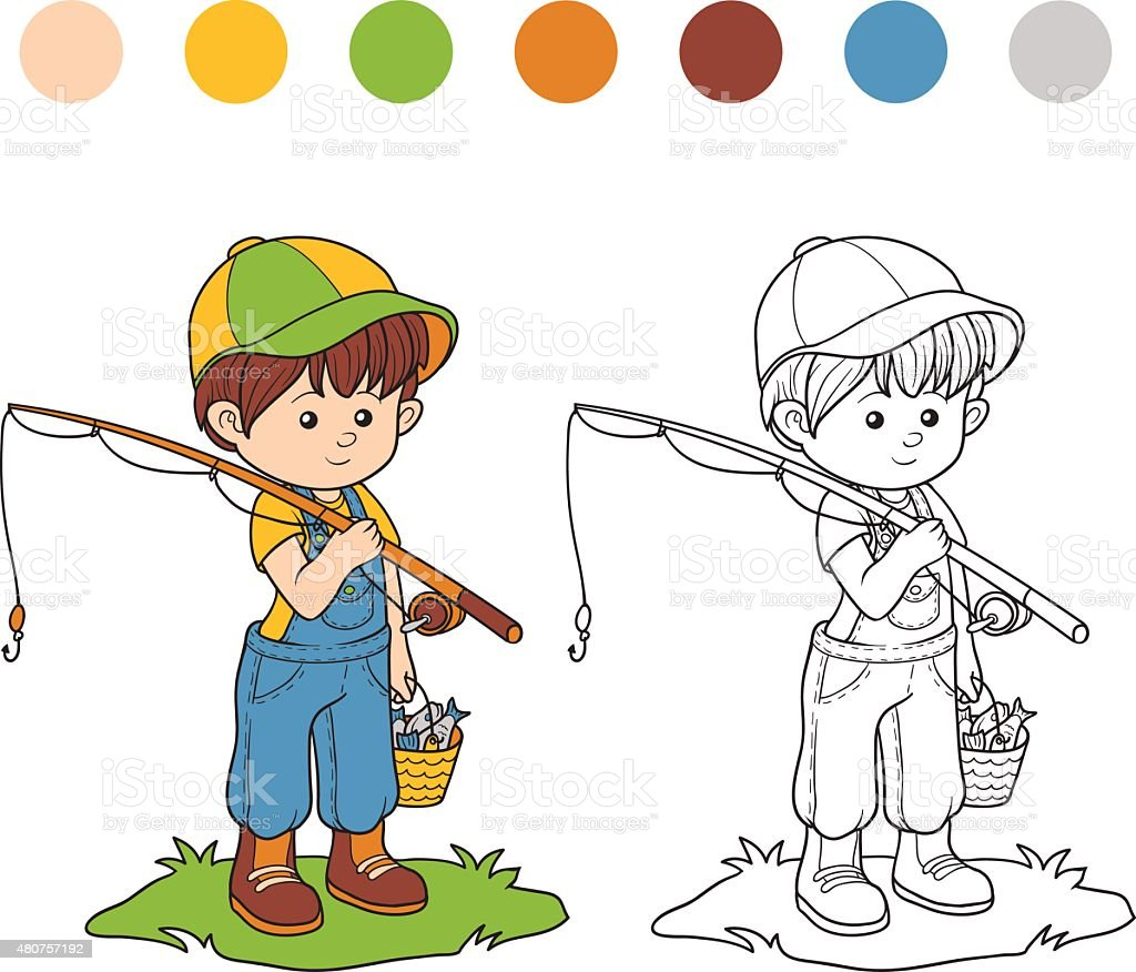 Coloring book (little boy fisher) vector art illustration