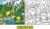 Coloring book (two frogs and background)